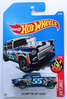 '55 Chevy Bel Air Gasser | Model Racing Cars | HW 2017 - Collector #109/365 - HW Flames 2/10 - '55 Chevy Bel Air Gasser - Blue - International Long Card