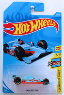 Indy 500 Oval | Model Racing Cars | HW 2018 - Collector # 123/365 - Legends of Speed 5/10 - Indy 500 Oval - Light Blue / Gulf Racing - International Long Card