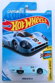 Porsche 917 LH | Model Racing Cars | HW 2018 - Collector # 124/365 - Legends of Speed 8/10 - Porsche 917 LH - Powder Blue / Gulf Racing - International Long Card