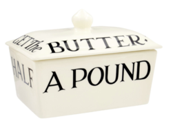 Black Toast Small Butter Dish (Don't let the cat..) - Emma Bridgewater | Ceramics | Black Toast Small Butter Dish