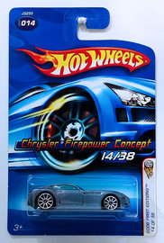 Chrysler Firepower Concept | Model Cars | HW 2006 - Collector # 014/223 - First Editions 14/38 - Chrysler Firepower Concept - Metallic Steel Blue - 10 Spokes - USA Card