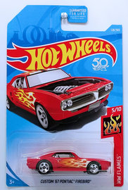 Custom '67 Pontiac Firebird | Model Cars | HW 2018 - Collector # 128/365 - HW Flames 5/10 - Custom '67 Pontiac Firebird - Red - USA 50th Card
