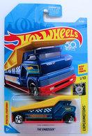 The Embosser | Model Trucks | HW 2018 - Collector # 075/365 - Experimotors 1/10 - The Embosser - Dark Blue - USA 50th Card - Front Wheel Error, Chrome missed