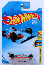 Indy 500 Oval | Model Racing Cars | HW 2018 - Collector # 123/365 - Legends of Speed 5/10 - Indy 500 Oval - Light Blue / Gulf Racing - USA 50th Card