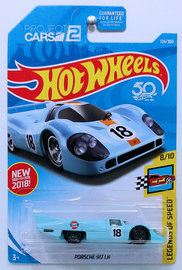 Porsche 917 LH | Model Racing Cars | HW 2018 - Collector # 124/365 - Legends of Speed 8/10 - Porsche 917 LH - Powder Blue / Gulf Racing - USA 50th Card