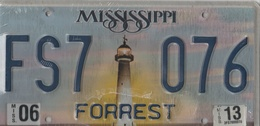 Mississippi State License Plate FS7 - 076 | License Plates | FS7 - 076  Forrest County