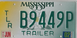 Mississippi State License Plate Trailer # B9449P | License Plates | Trailer Tag #B9449P
