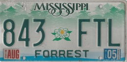 Mississippi State License Plate # 843 FTL | License Plates