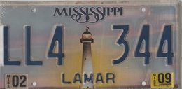 Mississippi State License Plate # LL4 - 344 | License Plates | LL4 - 366 Lamar County