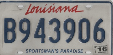 Louisiana State Plate #B943906   License Plates   Louisiana #B943906