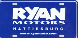 Ryan Motors, Hattiesburg, MS. Novelty Plate | License Plates | Ryan Motors, Hattiesburg, MS. Novelty Plate