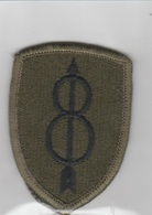 U.S. Army Patch - US 8th Infantry Division OD Iron-on Type  | Uniform Patches | U.S. Army Patch - US 8th Infantry Division OD Iron-on Type