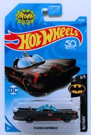 TV Series Batmobile   Model Cars   HW 2018 - Collector # 163/365 - Batman 5/5 - TV Series Batmobile - Black - USA 50th Card