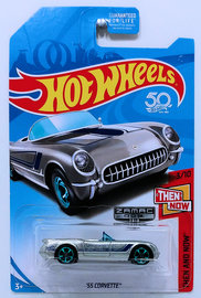 '55 Corvette | Model Cars | HW 2018 - ZAMAC 002 - Then And Now 3/10 - '55 Corvette - ZAMAC - USA 50th Card - Walmart Exclusive