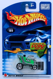 Express Lane | Model Cars | HW 2002 - Collector # 189/240 - Express Lane - Green - USA 'Race & Win' Card