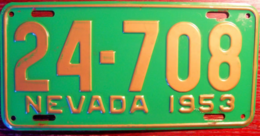 Nevada Passenger License Plate | License Plates | Nevada Passenger License Plate 1953