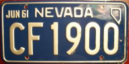 Nevada Passenger License Plate | License Plates | Nevada Passenger License Plate 1961
