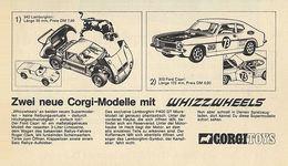 Zwei neue Corgi-Modelle mit Whizzwheels   Print Ads