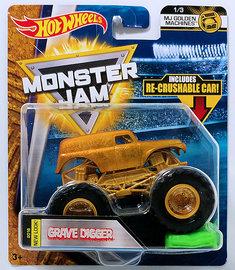 Grave Digger  | Model Trucks | HW 2018 - Monster Jam - MJ Golden Machines 1/3 - Grave Digger - Includes Re-Crushable Car