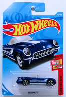 '55 Corvette | Model Cars | HW 2018 - Collector # 192/365 - Then And Now 3/10 - '55 Corvette - Blue - International Long Card