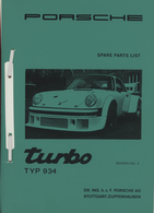 Porsche Turbo 934 Spare Parts List | Manuals & Instructions