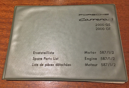 Porsche Carrera 2, 200 GS & GT, Spare Parts List, Engine 587/1/2 | Manuals & Instructions
