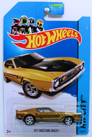 1971 Mustang Mach 1 | Model Cars | HW 2014 - Collector # 094/250 - HW City / Mustang 50 / Super Treasure Hunts - 1971 Mustang Mach 1 - Spectraflame Gold - Real Riders - USA Card