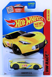 Corvette C7.R | Model Cars | HW 2015 - Collector # 155/250 - HW Race / World Race - Corvette C7.R - Yellow - USA Card with 'NEW! FOR 2015'