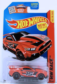 Custom '15 Ford Mustang | Model Cars | HW 2015 - Collector # 154/250 - HW Race / World Race - Custom '15 Ford Mustang - Red - NEW Casting - USA Card