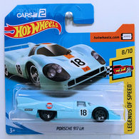 Porsche 917 LH | Model Racing Cars | HW 2018 - Collector # 124/365 - Legends of Speed 8/10 - Porsche 917 LH - Powder Blue / Gulf Racing - International Short Card
