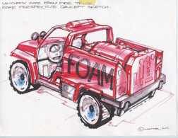 2002 Foam Fire Truck Rear Perspective Concept Sketch   Drawings & Paintings