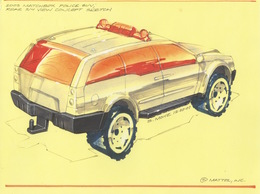 2003 Matchbox Police SUV Rear 3/4 View Concept Sketch   Drawings & Paintings