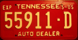 Tennessee Auto Dealer License Plate | License Plates | Tennessee Auto Dealer License Plate