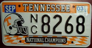 University of Tennessee Passenger License Plate | License