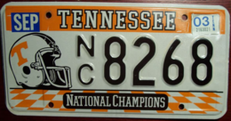 University of Tennessee Passenger License Plate | License Plates | Tennessee National Champions License Plate