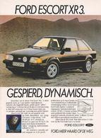 Ford Escort XR3. Gespierd, Dynamisch. | Print Ads