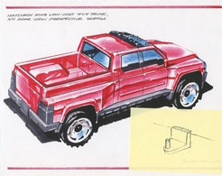 Matchbox 2003 Low Cost 4x4 Rescue Truck 3/4 Rear View Perspective Sketch   Drawings & Paintings