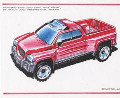 Matchbox 2003 Low Cost 4x4 Rescue Truck 3/4 Front View Perspective Sketch   Drawings & Paintings