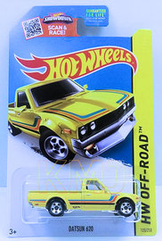 Datsun 620 | Model Trucks | HW 2015 - Collector # 125/250 - HW Off-Road / HW Hot Trucks - Datsun 620 - Yellow - KMart Exclusive - USA Card