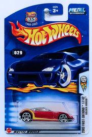 Golden Arrow | Model Cars | HW 2003 - Collector # 028/220 - First Editions 17/42 - Golden Arrow - Red - PR5 Wheels - USA '1968-2003 Anniversary' Card