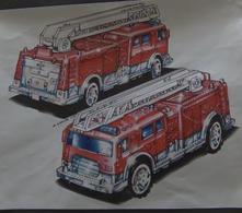 Ladder Truck   Drawings & Paintings