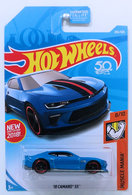 '18 Camaro SS  | Model Cars |  HW 2018 - Collector # 265/365 - Muscle Mania 8/10 - '18 Camaro SS (Hot Wheels Special Edition) - Blue - USA 50th Card