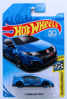 '16 Honda Civic Type R | Model Cars | HW 2018 - Collector # 245/365 - HW Speed Graphics 2/10 - '16 Honda Civic Type R - Blue - USA 50th Card