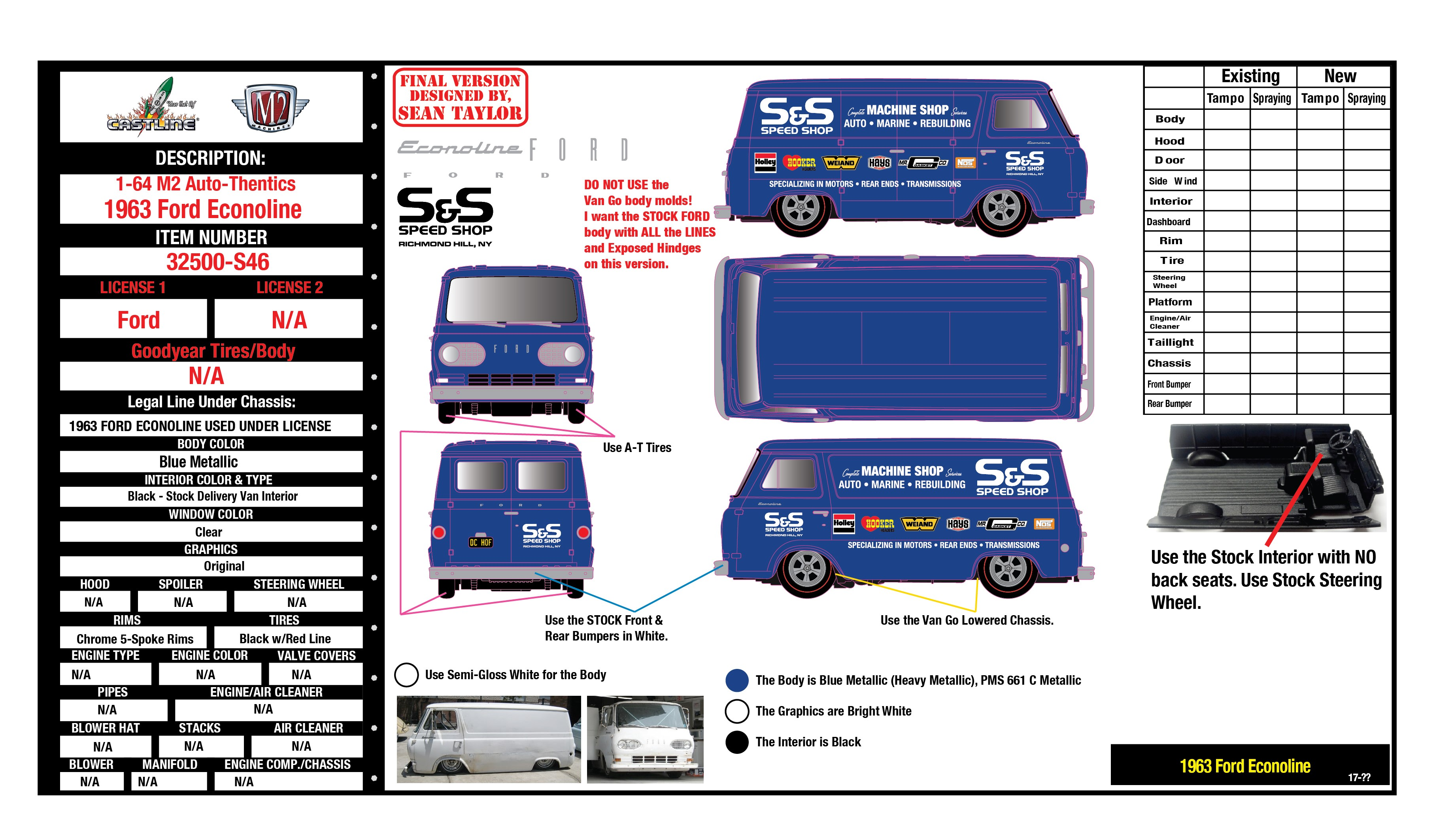 Design E-Sheet for Diecast Hall of Fame 1963 Ford Econoline | Manuals and  Instructions | hobbyDB