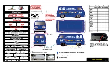 Design E-Sheet for Diecast Hall of Fame 1963 Ford Econoline | Manuals & Instructions