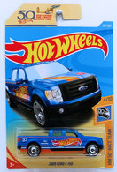 2009 Ford F-150 | Model Trucks | HW 2018 - Collector # 287/365 - HW 50th Race Team 4/10 - 2009 Ford F-150 - Matte Blue - International Long Card