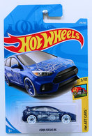 Ford Focus RS   Model Cars   HW 2018 - Collector # 276/365 - HW Art Cars 3/10 - Ford Focus RS - Blue - International Long Card