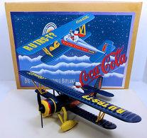 Coca-Cola Biplane | Model Aircraft | Coca-Cola 1997 - Stock # F601 - Biplane with Polar Bear & Cub - 12 Inch Wingspan
