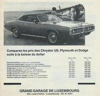 Comparez Les Prix Des Chrysler US, Plymouth Et Dodge Suite À La Baisse Du Dollar | Print Ads