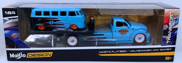 Maisto Flatbed | Model Trucks | Maistro 2018 - Elite Transport - Flatbed / Volkswagen Van 'Samba' - Sky Blue